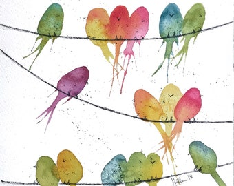 "Birds -on-a-wire Watercolor painting  Multi-colored ""Birds-on-a-Wire wall art Bright colored birds wall art   Whimsical bird wall art"