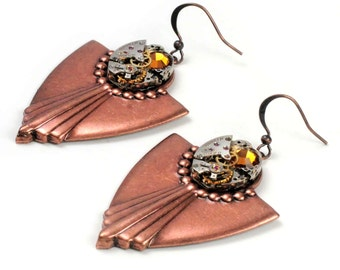 Steampunk Vintage Watch n Copper Art Deco Earrings