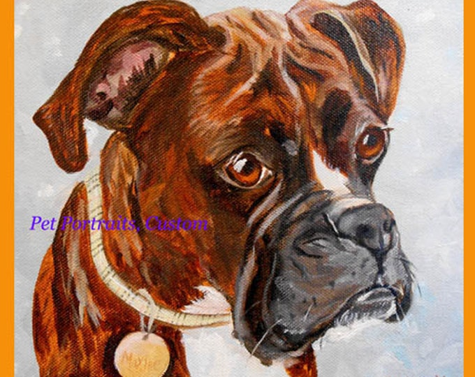 """Boxer Dog Custom Oil Painting Portrait from Photos by artist Robin Zebley, 11"""" x 14"""""""