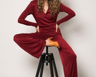 My Cleonice 90s Style Long-Sleeve Wide Leg Jumpsuit
