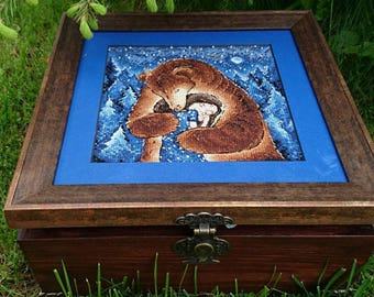 Jewellery Box - Bear Cross Stitch - Girl Cross Stitch - Holiday Cross Stitch - Embroidery - Gift For Her - Housewarming Gift