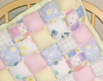 Puffy Pillow Baby Tummy Time Quilt- Pastels