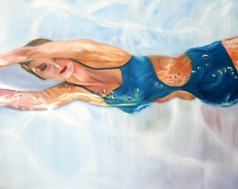 Original Oil Painting: Vintage Fifties Swimming Fashion Model