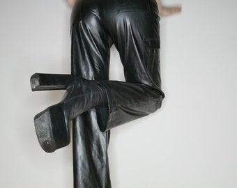 90s industrial goth grunge faux leather cargo pants size M-L