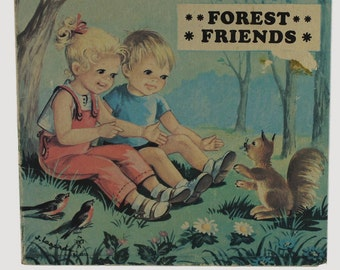 Vintage Board Book FOREST FRIENDS by Brimax Books, circa 1965, illustrated by J. Lagarde, 4 pages, sweet little book, ships free in USA