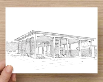 Ink Drawing of beach pavilion at Siesta Key - Florida, Architecture, Mid-Century, Design, Sketch, 5x7 Print, Art, Illustration, Pen and Ink