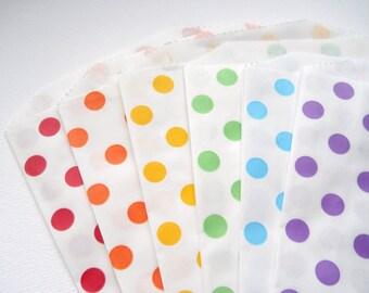 RAINBOW Polka Dot - QTY 12 - Treat Bag - Baked Goods Bag - 5x7 - Art Party - Rainbow Party