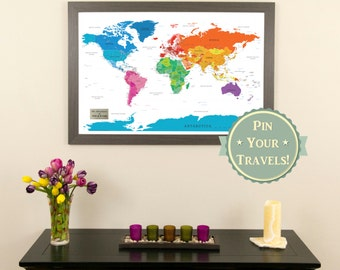 Colorful world push pin travel map with pins and frame personalized colorful world push pin travel map with pins and frame kids room decor gumiabroncs Choice Image