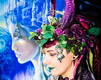 Special Custom Order For Wendy - Horned Headdress, Gothic Horned Headdress, Faerie Headdress, Faux Horns, Fake Horns.