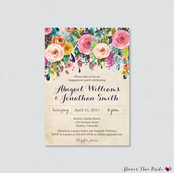 Items similar to floral engagement party invitation for Etsy engagement party invites