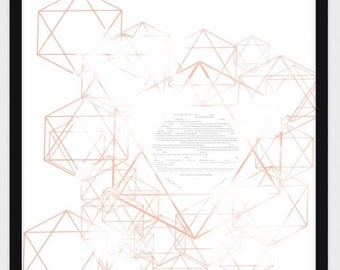 Personalized Contemporary Geometric Star of David Ketubah in Neutral Colors