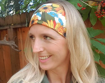 Sunflowers and Forget Me Nots Fall Knit/Athletic/ Actuvewear/Yoga/Hiking Headband by Headband Happy AK