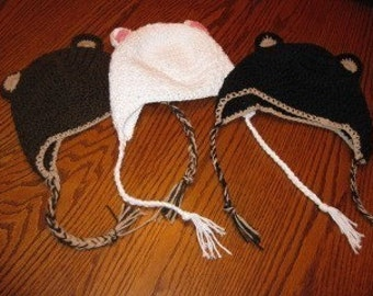 Bear Beanies w/ Earflaps - you choose color