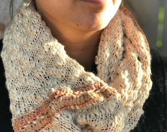 Bethany: A knit textured cowl that is soft and warm with a corset seam