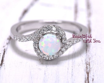 Womens Halo Engagement Ring, Silver Lab Opal Ring, White Opal Ring, Opal Wedding Band, Promise Ring for Her, Opal Engagement Ring, Halo Ring