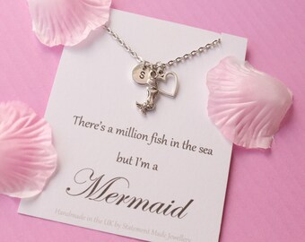 Mermaid necklace, mermaid gift, mermaid, gift for sister, Message card necklace, inspirational message necklace, MERMCN05, christmas gift