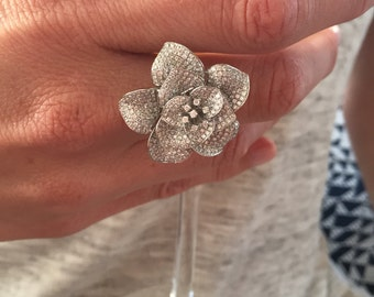 A Statement Piece Diamond Flower Ring/Pendant All In One