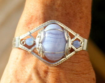 Blue Lace Agate and Swarovski Crystal Sterling Silver Wire Wrapped Bracelet