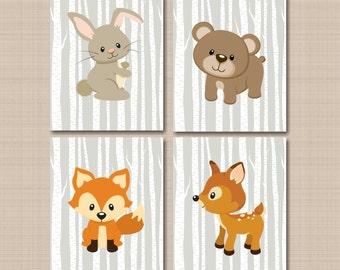 Woodland Nursery Wall Art Woodland Nursery Decor Forest Animals Wall Art Gray Forest Friends Wall Art Bear Fox Deer Bunny- UNFRAMED  4 C326