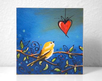 "Art Block - Love Bird - 3.5"" natural wood - by Cindy Thornton"