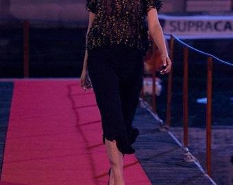 Top and capris SET, silk blouse with golden appplications, black capri pants, cotton brocade capris