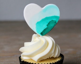 Fondant Watercolor Heart Cupcake Toppers | Set of 6