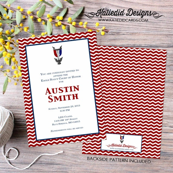 eagle scout court of honor invitations graduation LDS patriotic birthday boy scout photo announcement red white blue 603 Katiedid Designs