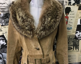 Womens Vintage 3/4 Length Suede Coat by Cherry London Fox Fur Collar Beige Brown Leather Size UK 10 Cheap UK & Worldwide Postage