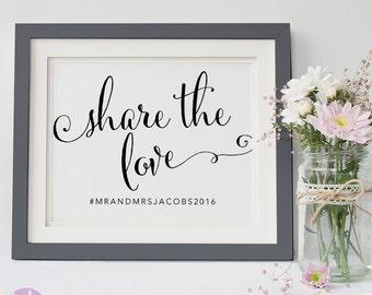 Social Media Sign | Wedding Hashtag | Black and White Handwritten | Wedding Signage