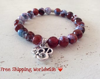 Courage and Strength, Agate Bracelet, Elephant, Om, Japa Mala, Energy Bracelet, Charm Bracelet, Gemstone Bracelet, Yoga Jewelry, Prayer Bead
