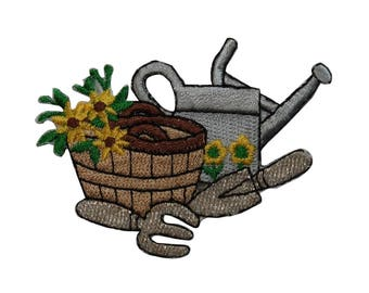 ID 7088 Gardening Supplies Patch Basket Tools Plant Embroidered Iron On Applique