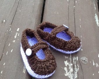 Brown and Purple Mary Janes 0-6 Months size