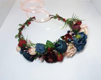 Navy Blue Burgundy Blush Flower Crown,Blue Maroon crown,Bridesmaid crown,Flower girl crown,Bridal flower crown