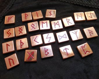 copper FUTARK, copper rune set, metal rune set