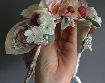 Flower Crown Bonnet with ears, Fawn Floral Bonnet, Baby Bonnet, Baby Flower Bonnet, Baby Photo Prop, Sitter Bonnet, Easter Bonnet,