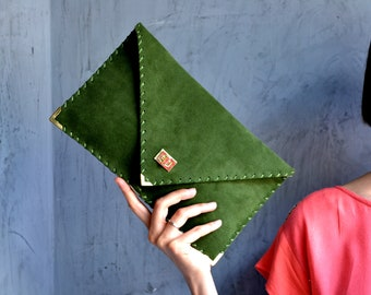 Green suede leather clutch