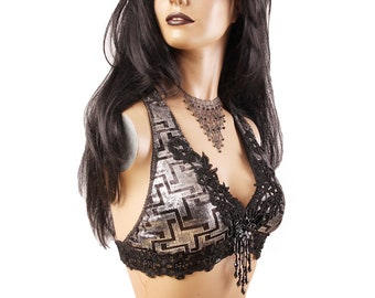 Halter, B, C or D Cup, Black and Silver, Bellydance, Bead Fringe, Sequins, Costume, Tribal, Fusion, Gothic, Circus, Bra, Like Assuit