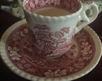 Country English Denitasse Toile Spode Tower Bone China England Teacup and saucer