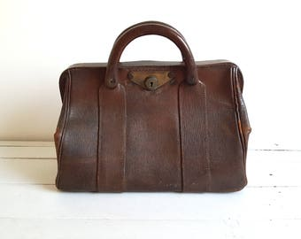 Very old brown leather doctor bag