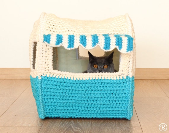 Pattern On The Road House Pet Crochet Bed Cat Cave T Shirt Yarn