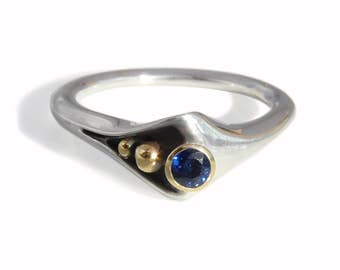 "Modern ""Folded"" Silver+18 karat Gold Ring, Blue Sapphire. Contemporary designer fine jewelry. Alternative engagement ring"