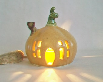 Pumpkin Fairy House / Night Light  - or Garden House -- Ready to Ship --  Medium Size  --  Handmade, Wheel Thrown -One of a Kind