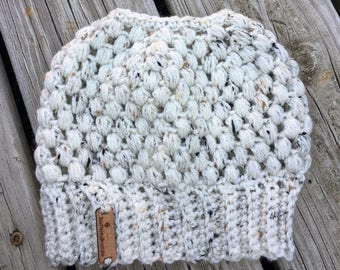 Messy Beanie Messy Bun Hat CHOOSE COLOR Ponytail Knot Crochet Hat Womens Hat Crochet Accessories Womens Slouchy Tam Beret Crochet Hat