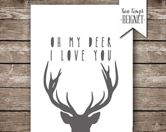 "Oh My Deer I Love You - Printable Artwork - 8x10"", 11x14"", and A4 - Deer Silhouette with Paper Cut Font - INSTANT DOWNLOAD"