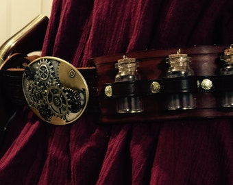 Steampunk Leather Belt