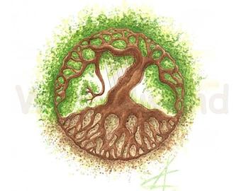 Kunstdruck einer Aquarellzeichnung  - Tree of Life... and a Harp! (21 x 30 cm), Original-Farben