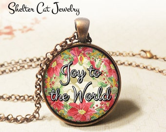 "Joy To The World Poinsettia Necklace - 1-1/4"" Circle Pendant or Key Ring - Wearable Photo Art Jewelry - Artwork, Winter, Christmas Gift"