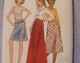 1970's A Line Bias Skirt Full Above, Below Knee Butterick Sewing Pattern 6160 Waist 29