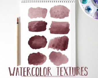 16 Wine/ Burgundy Watercolor Swatces, Splashes, and Circles for DIY projects, Blogs, Small Business use.
