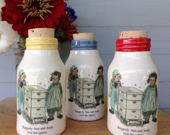Milk Bottle decor, 1950's children's story,  Milk Bottle, Raggedy Ann, Beekeeper Milk Bottle, Beehive Honey Bottle, Raggedy Andy